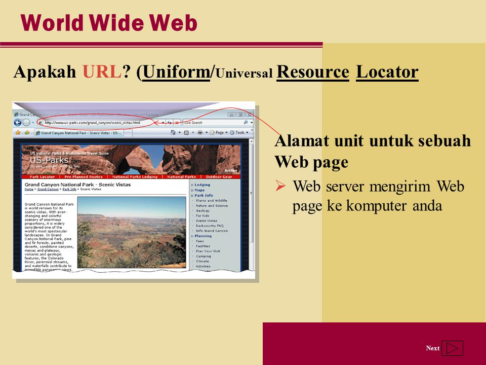 World Wide Web Apakah URL (Uniform/Universal Resource Locator