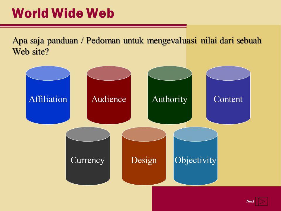 World Wide Web Apa saja panduan / Pedoman untuk mengevaluasi nilai dari sebuah Web site Affiliation.