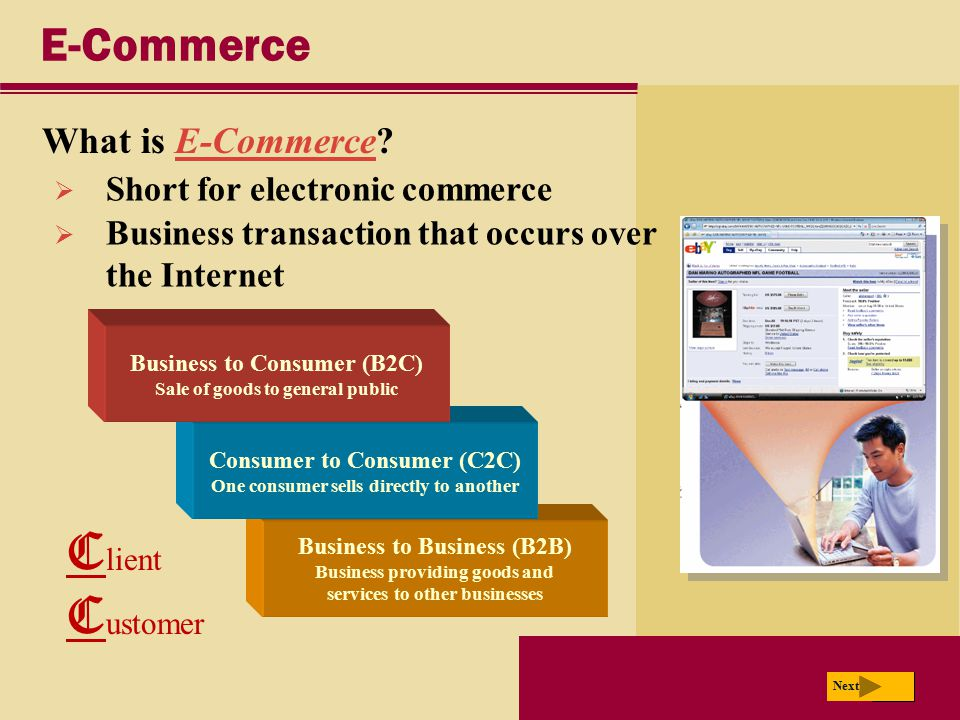 Client Customer E-Commerce What is E-Commerce