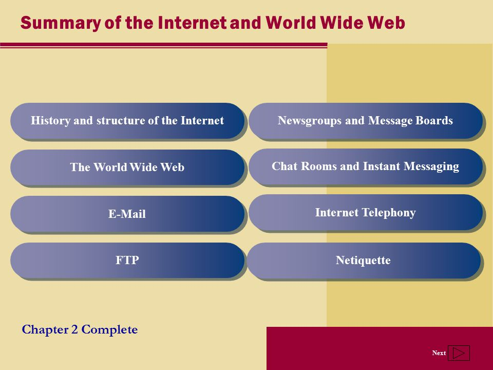 Summary of the Internet and World Wide Web