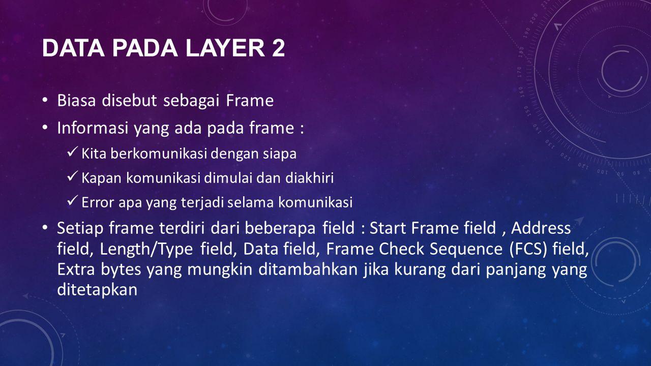 Data Pada Layer 2 Biasa disebut sebagai Frame