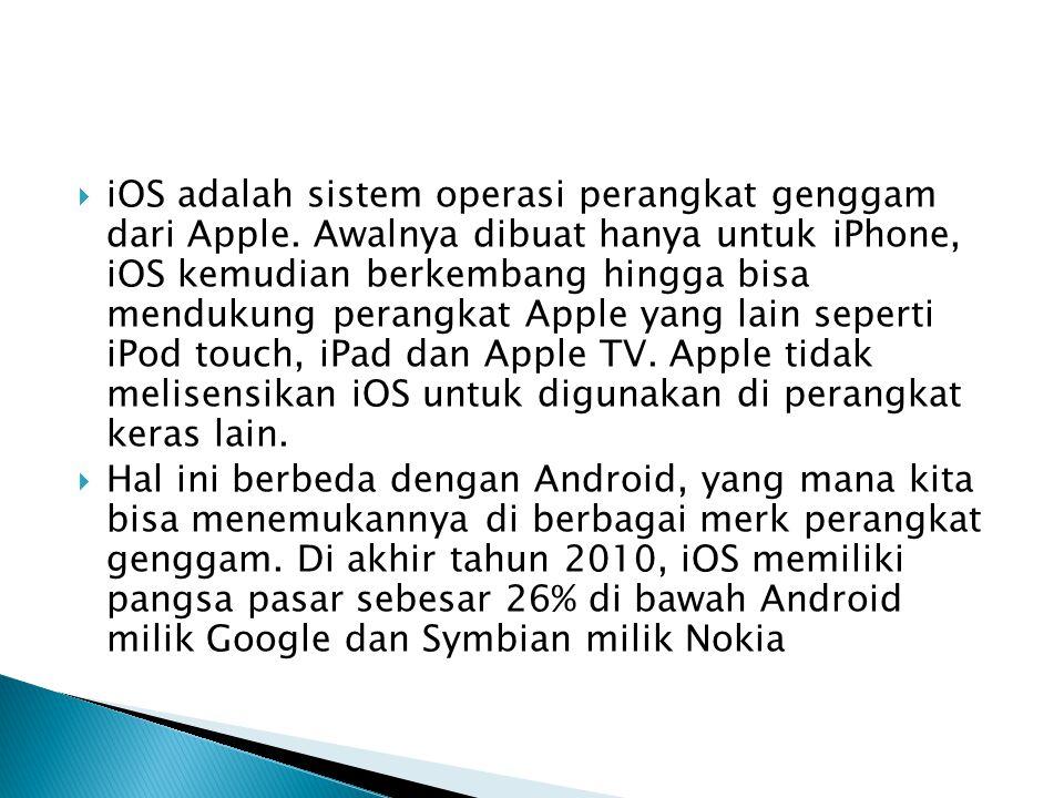 iOS adalah sistem operasi perangkat genggam dari Apple