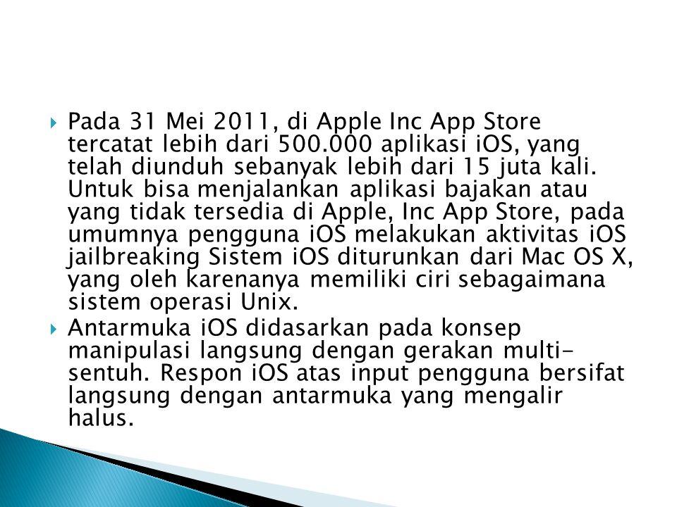 Pada 31 Mei 2011, di Apple Inc App Store tercatat lebih dari 500