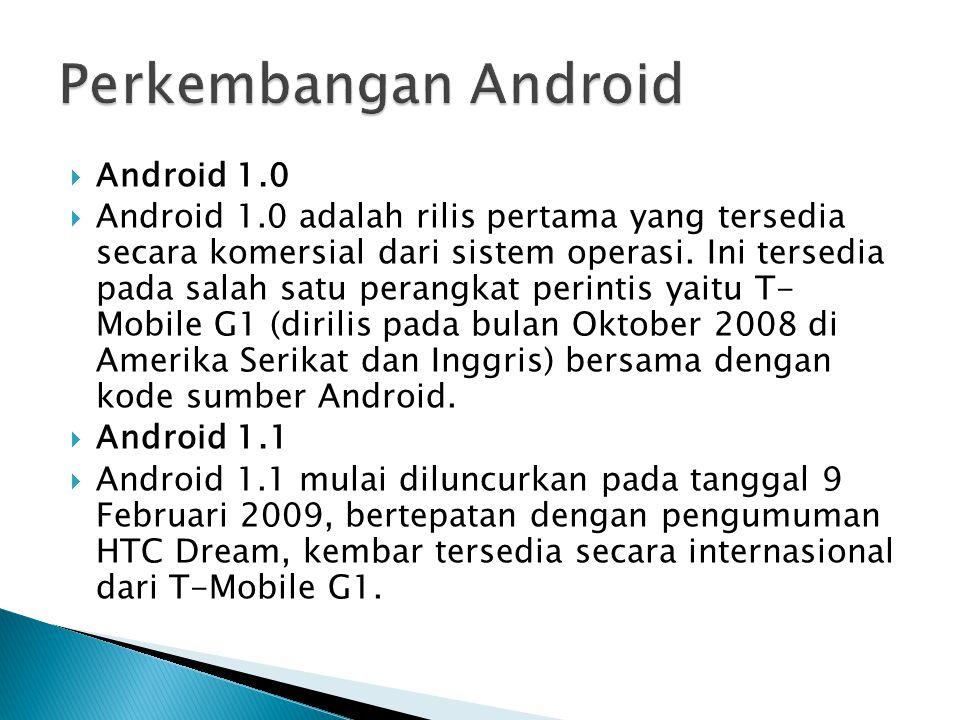 Perkembangan Android Android 1.0