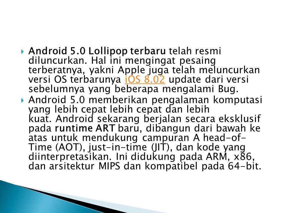 Android 5. 0 Lollipop terbaru telah resmi diluncurkan