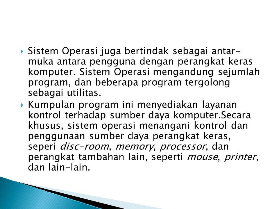 Sistem Operasi juga bertindak sebagai antar- muka antara pengguna dengan perangkat keras komputer. Sistem Operasi mengandung sejumlah program, dan beberapa program tergolong sebagai utilitas.