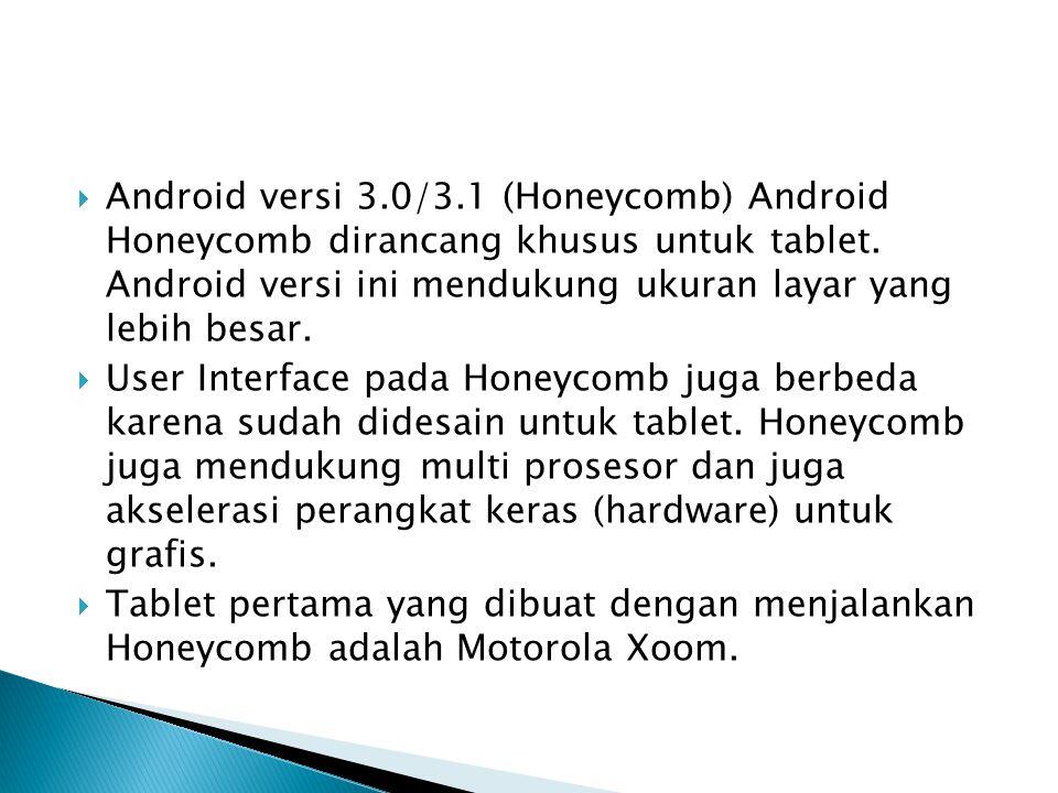 Android versi 3.0/3.1 (Honeycomb) Android Honeycomb dirancang khusus untuk tablet. Android versi ini mendukung ukuran layar yang lebih besar.