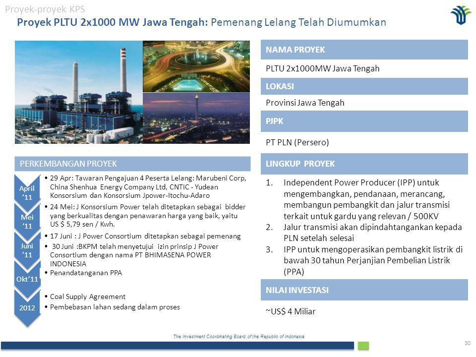 Proyek PLTU 2x1000 MW Jawa Tengah: Pemenang Lelang Telah Diumumkan