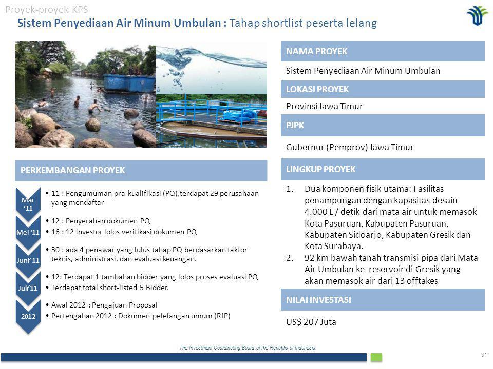 Sistem Penyediaan Air Minum Umbulan : Tahap shortlist peserta lelang
