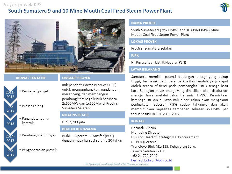 South Sumatera 9 and 10 Mine Mouth Coal Fired Steam Power Plant