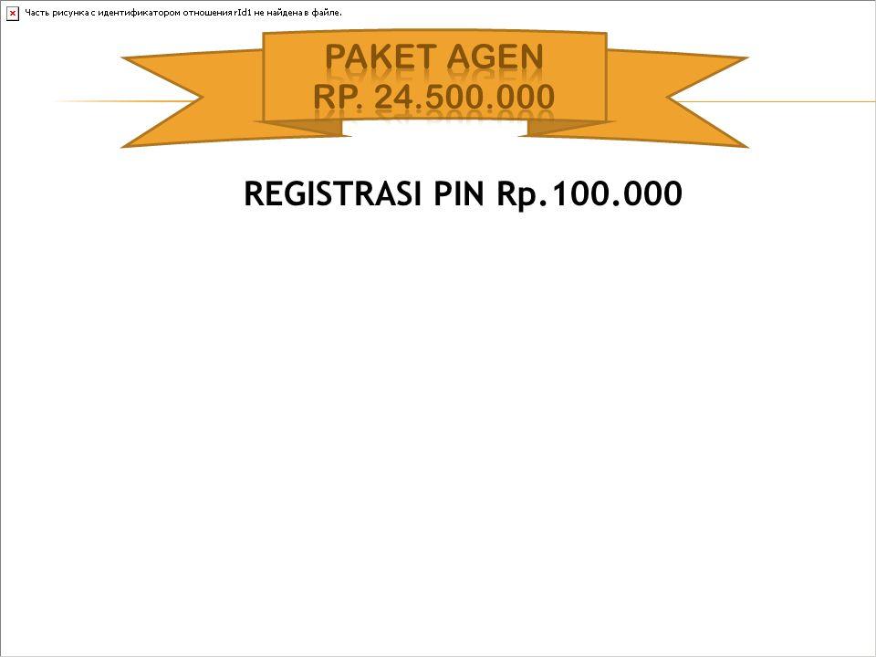 PAKET AGEN Rp. 24.500.000 REGISTRASI PIN Rp.100.000