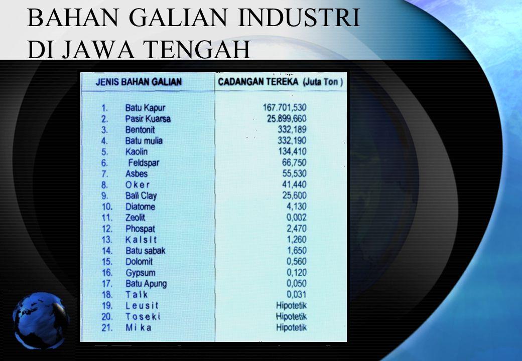 BAHAN GALIAN INDUSTRI DI JAWA TENGAH