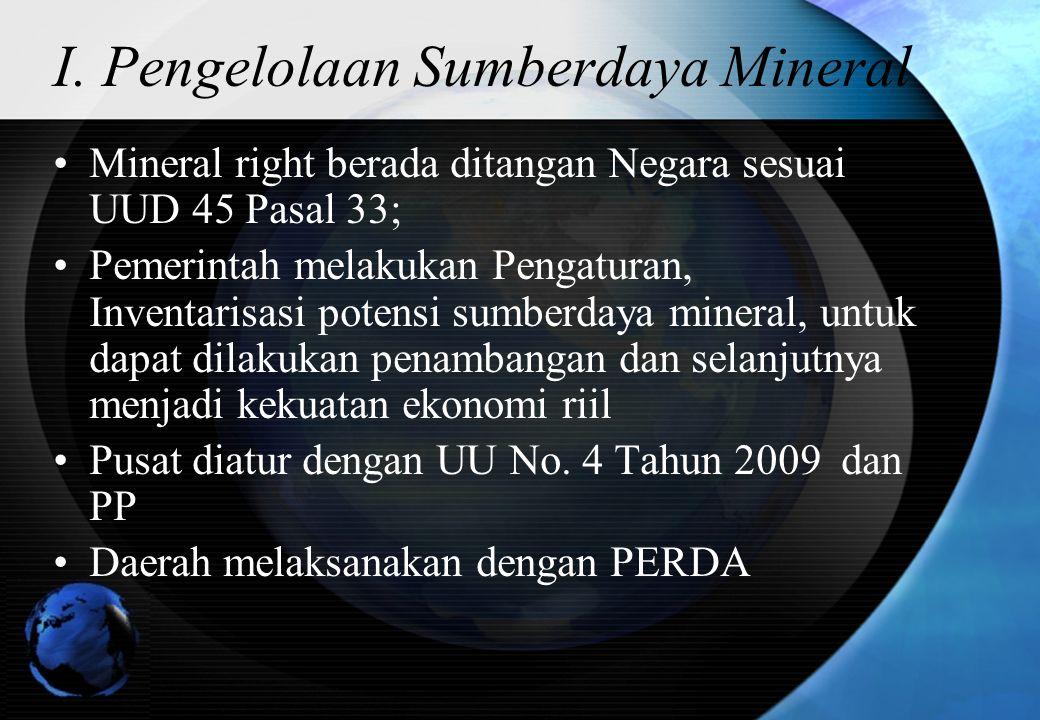 I. Pengelolaan Sumberdaya Mineral