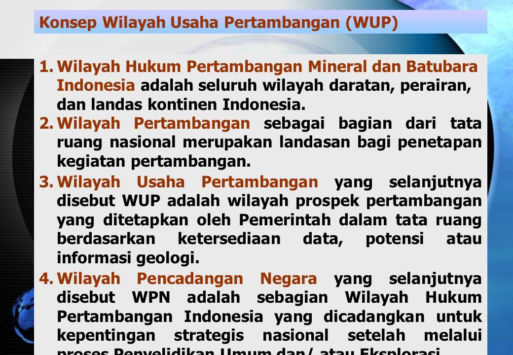 Konsep Wilayah Usaha Pertambangan (WUP)