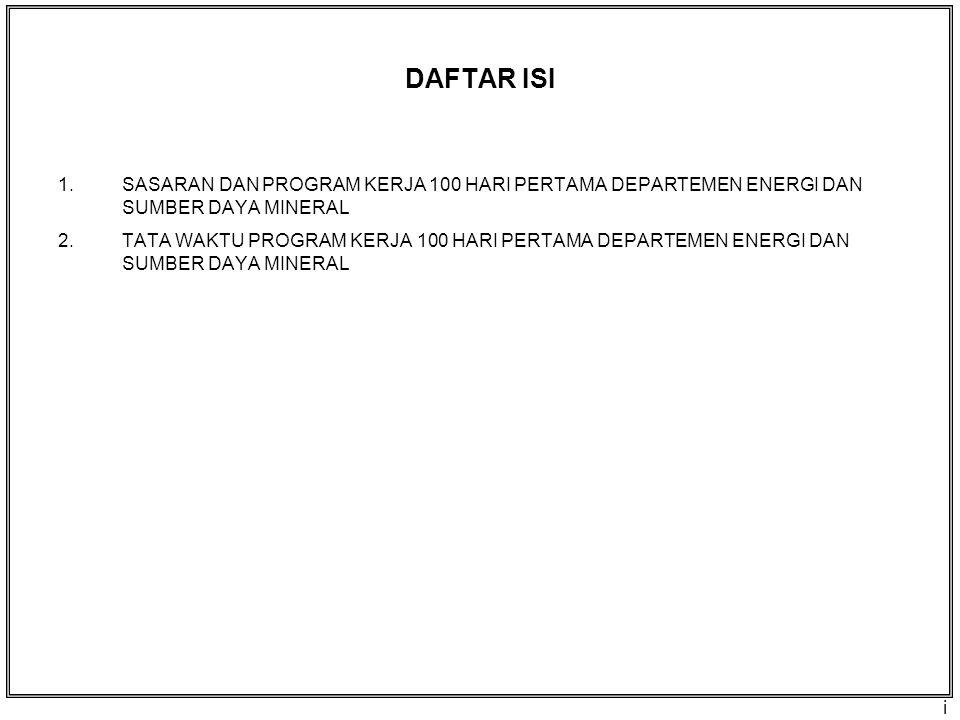 1. SASARAN & PROGRAM KERJA 100 HARI PERTAMA DEPARTEMEN ENERGI DAN SUMBER DAYA MINERAL