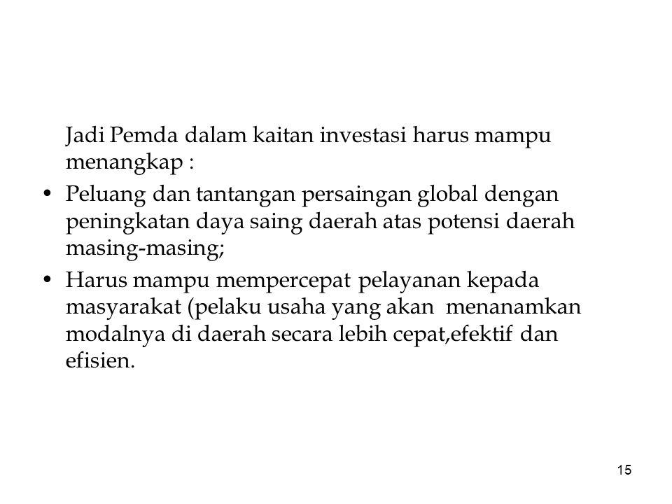 Jadi Pemda dalam kaitan investasi harus mampu menangkap :