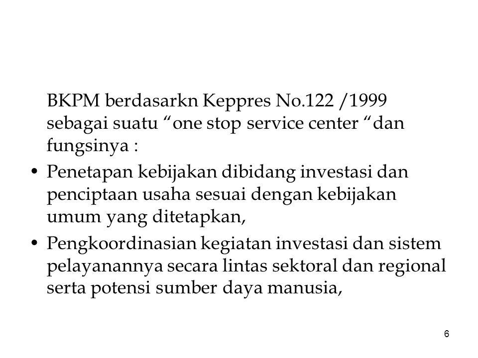BKPM berdasarkn Keppres No
