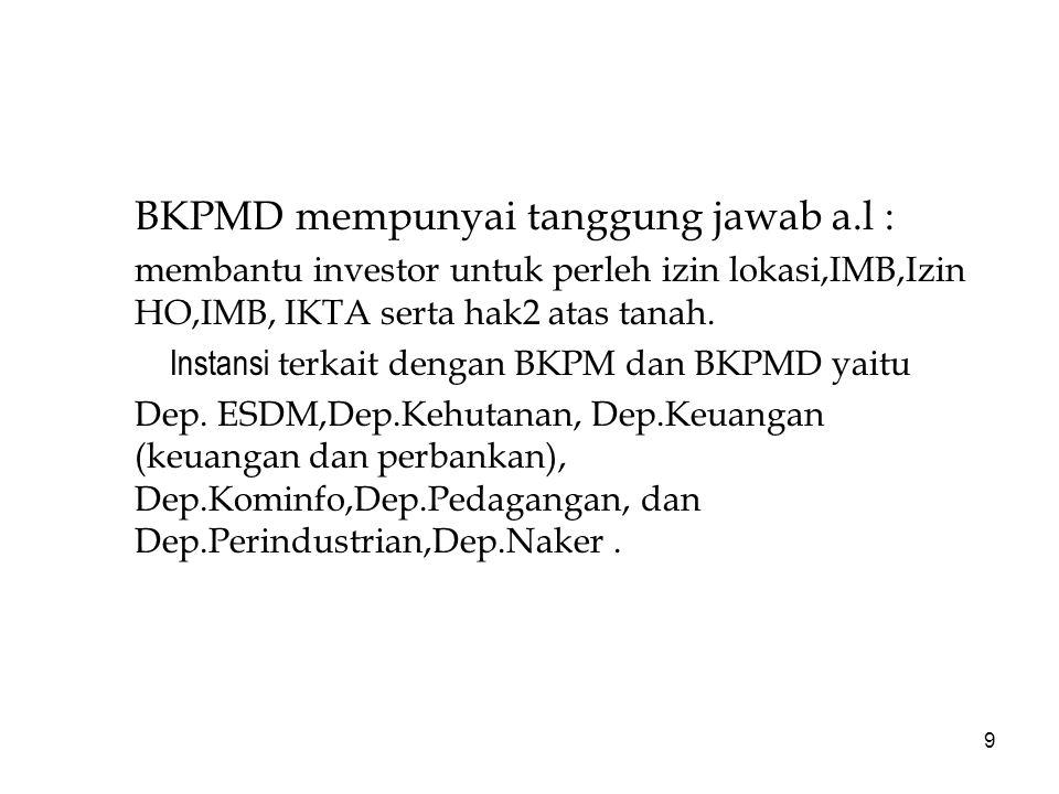 BKPMD mempunyai tanggung jawab a.l :