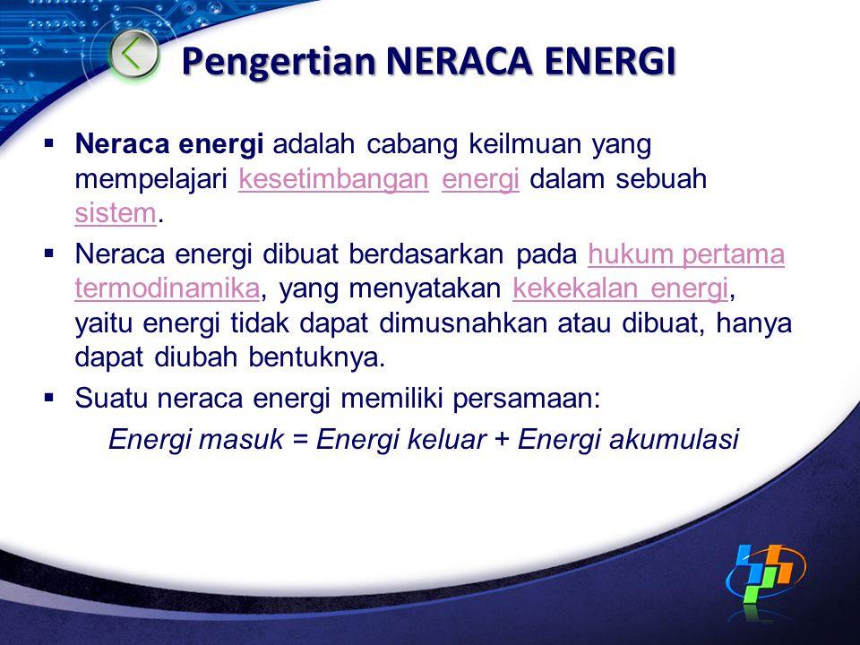 Pengertian NERACA ENERGI