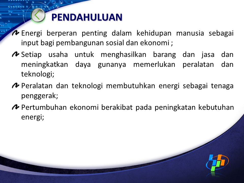 PENDAHULUAN Energi berperan penting dalam kehidupan manusia sebagai input bagi pembangunan sosial dan ekonomi ;