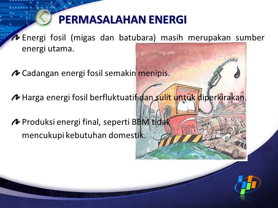 PERMASALAHAN ENERGI Energi fosil (migas dan batubara) masih merupakan sumber energi utama. Cadangan energi fosil semakin menipis.