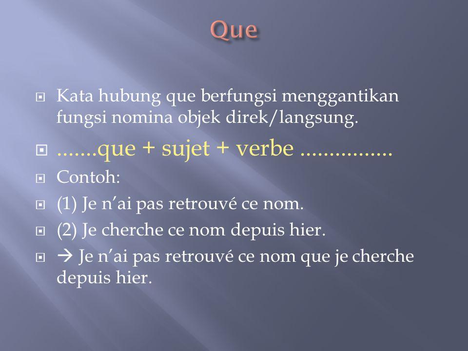 Que Kata hubung que berfungsi menggantikan fungsi nomina objek direk/langsung. .......que + sujet + verbe ................