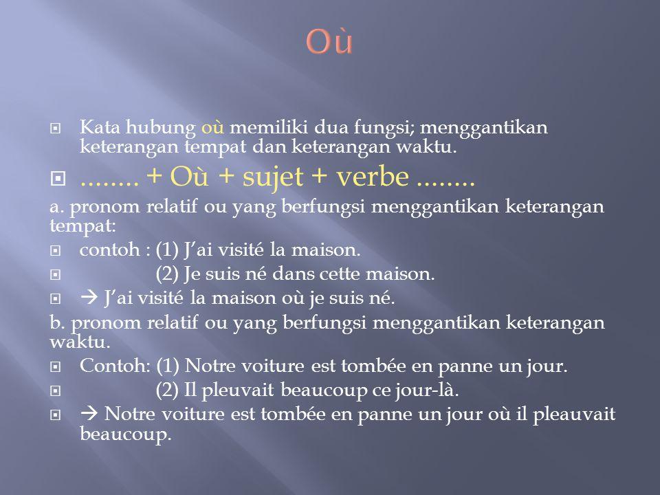 Où Kata hubung où memiliki dua fungsi; menggantikan keterangan tempat dan keterangan waktu. ........ + Où + sujet + verbe ........