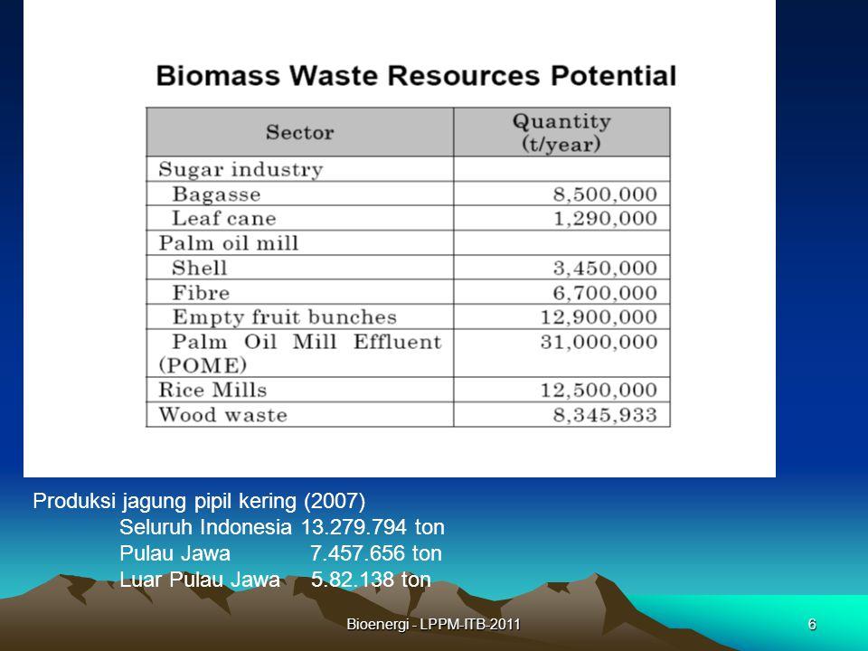 Produksi jagung pipil kering (2007) Seluruh Indonesia 13.279.794 ton
