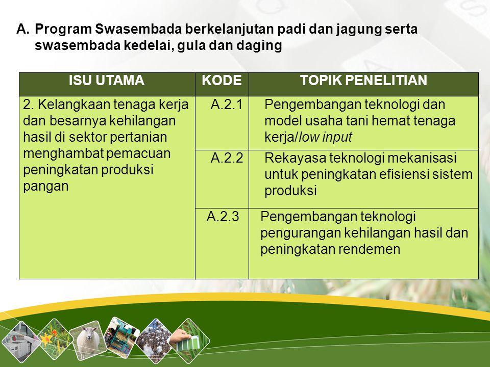 Program Swasembada berkelanjutan padi dan jagung serta swasembada kedelai, gula dan daging