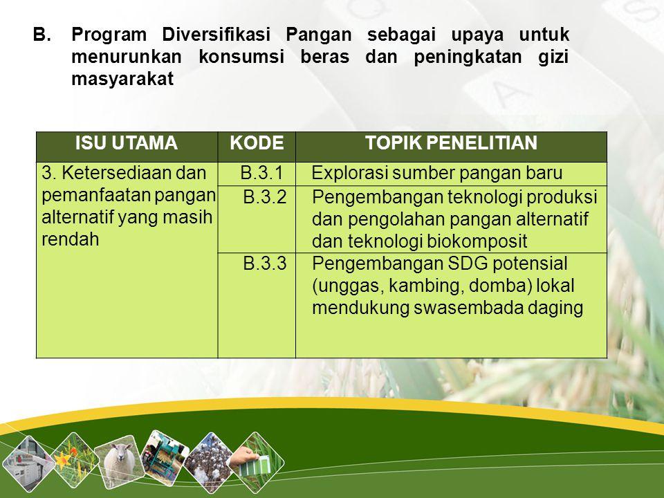 B.. Program Diversifikasi Pangan sebagai upaya untuk menurunkan konsumsi beras dan peningkatan gizi masyarakat