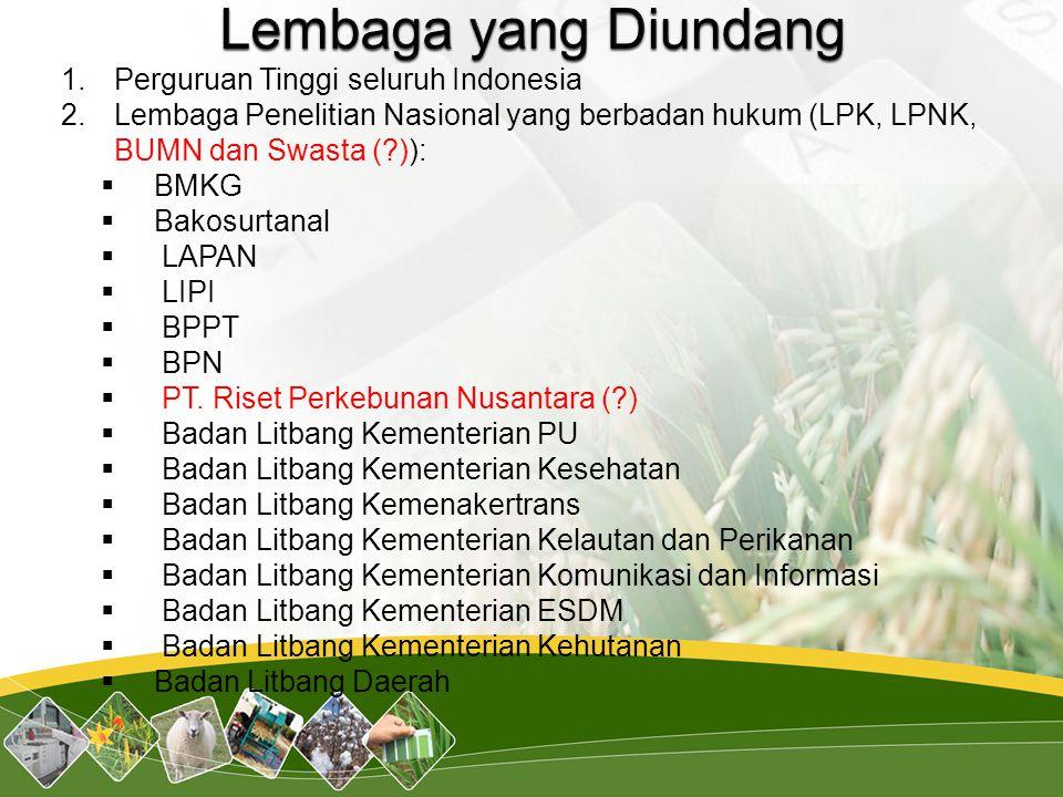 Lembaga yang Diundang Perguruan Tinggi seluruh Indonesia