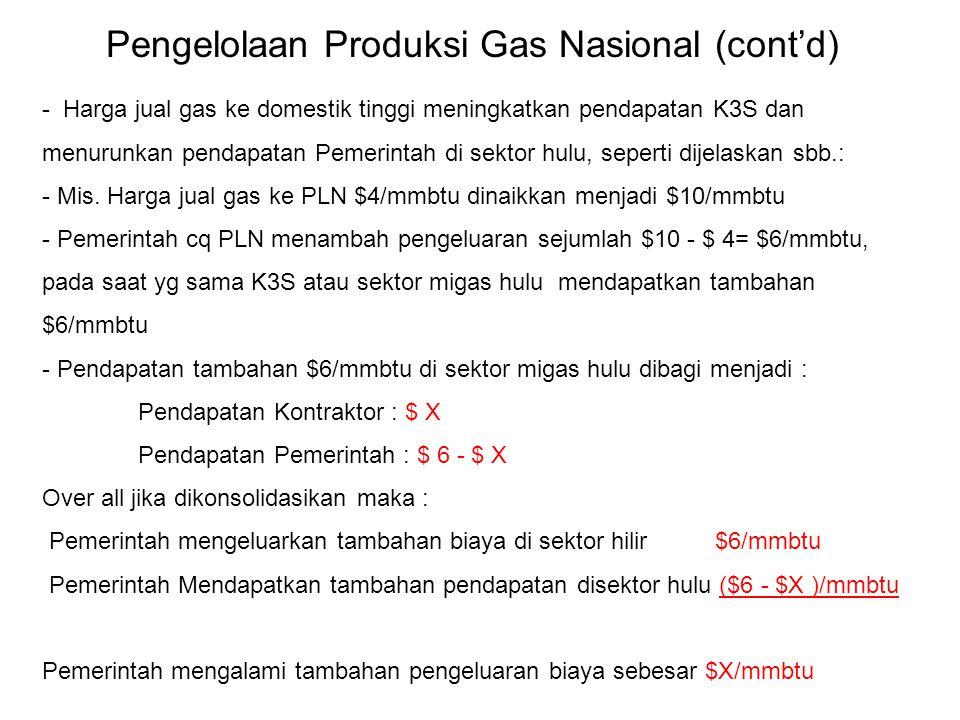 Pengelolaan Produksi Gas Nasional (cont'd)