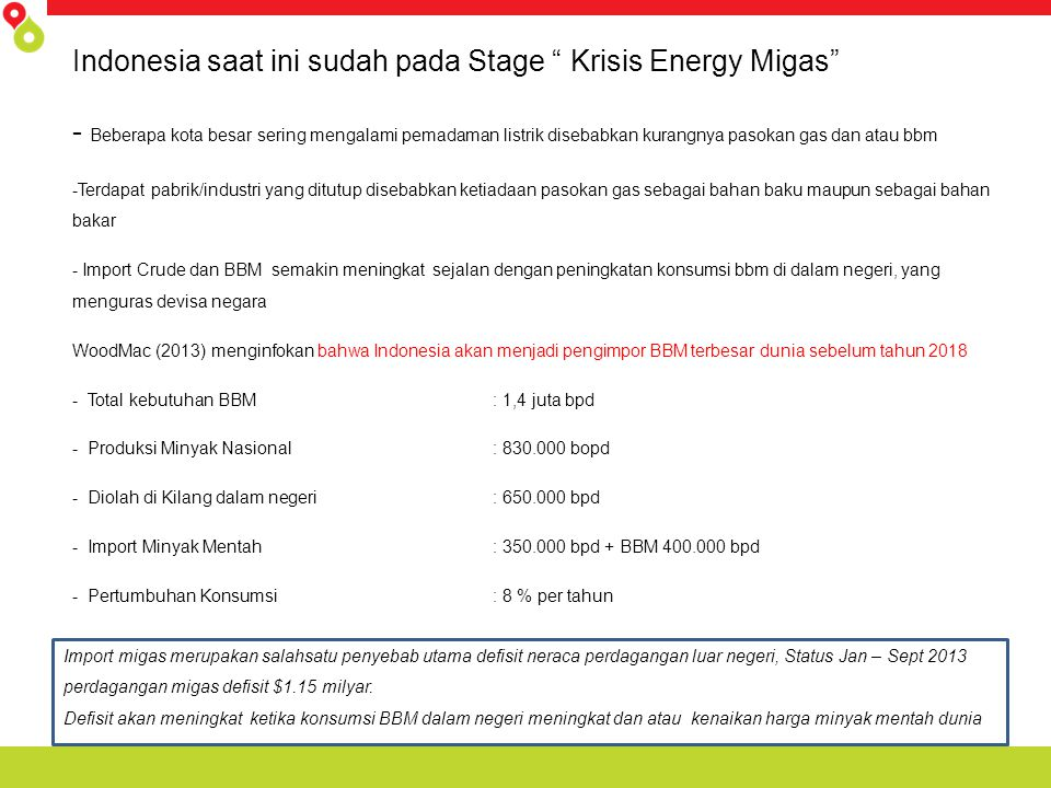 Indonesia saat ini sudah pada Stage Krisis Energy Migas
