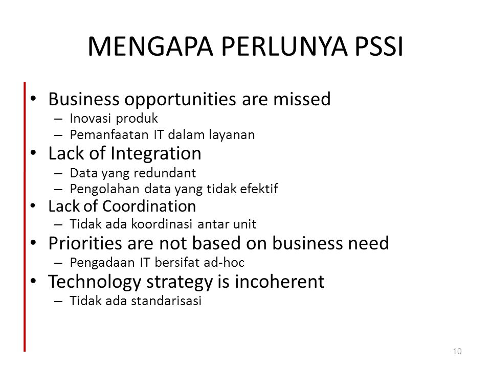 MENGAPA PERLUNYA PSSI Business opportunities are missed