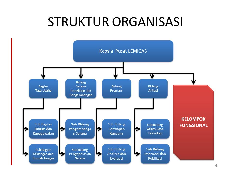 STRUKTUR ORGANISASI Kepala Pusat LEMIGAS KELOMPOK FUNGSIONAL