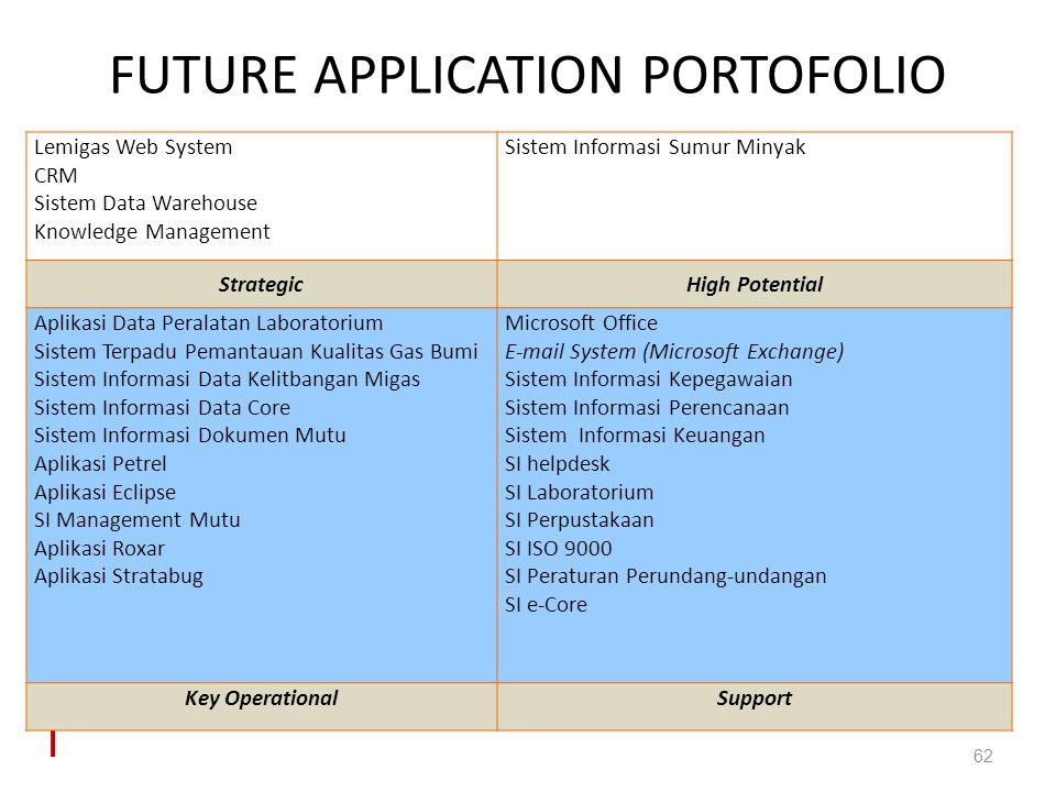 FUTURE APPLICATION PORTOFOLIO