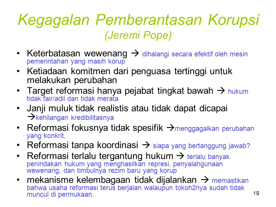 Kegagalan Pemberantasan Korupsi (Jeremi Pope)
