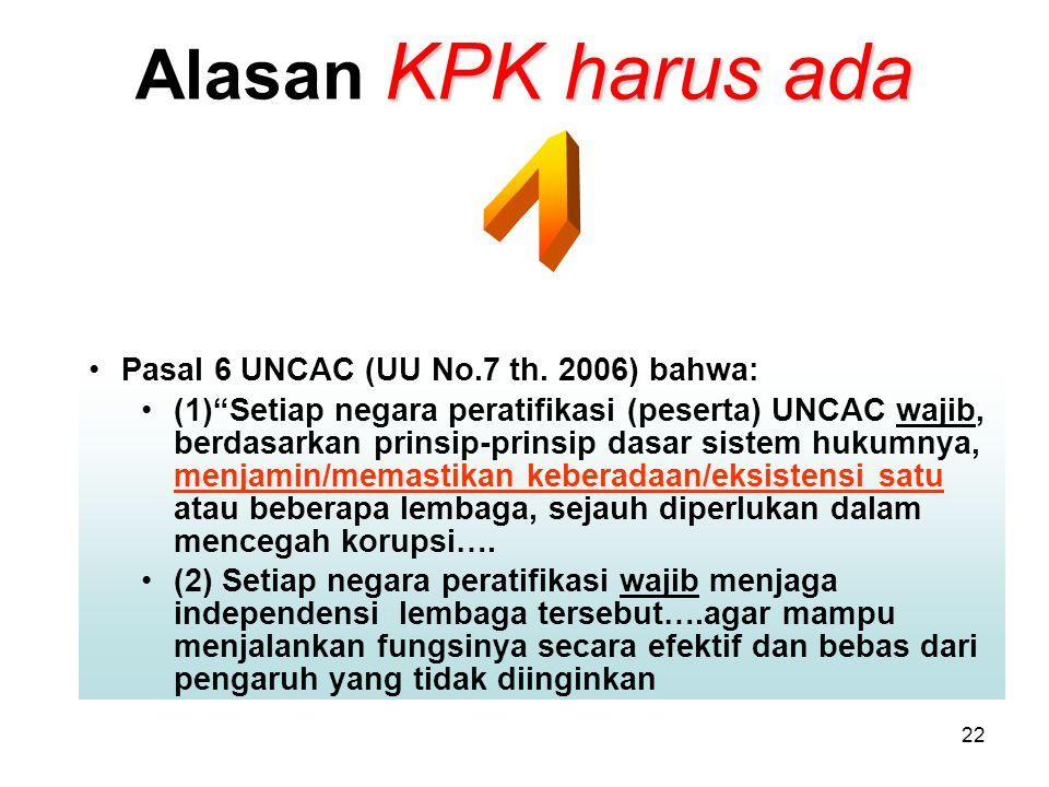Alasan KPK harus ada 1 Pasal 6 UNCAC (UU No.7 th. 2006) bahwa:
