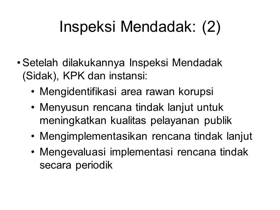 Inspeksi Mendadak: (2) Setelah dilakukannya Inspeksi Mendadak (Sidak), KPK dan instansi: Mengidentifikasi area rawan korupsi.