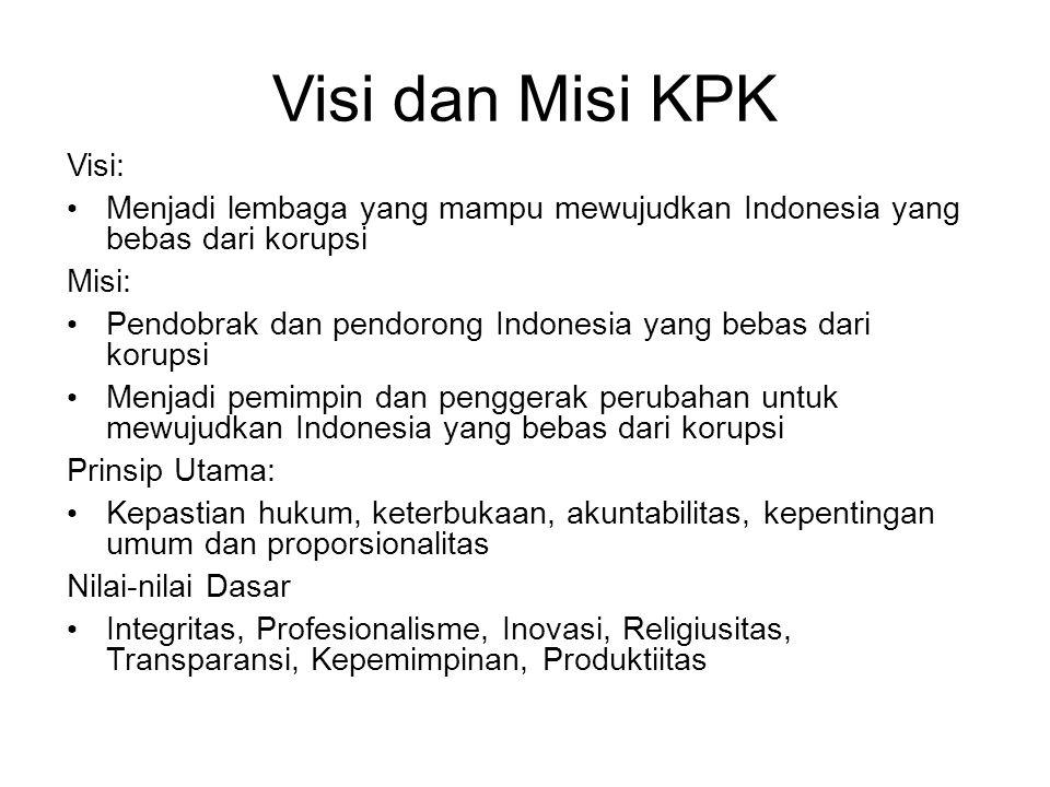 Visi dan Misi KPK Visi: Menjadi lembaga yang mampu mewujudkan Indonesia yang bebas dari korupsi. Misi: