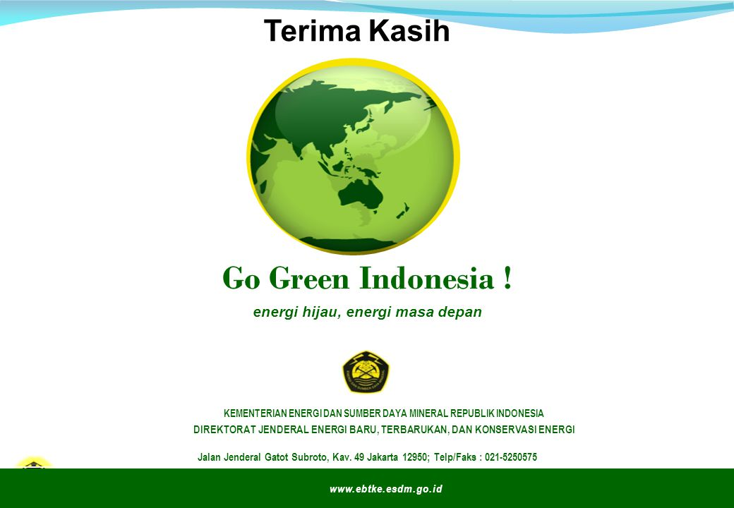 Go Green Indonesia ! Terima Kasih energi hijau, energi masa depan