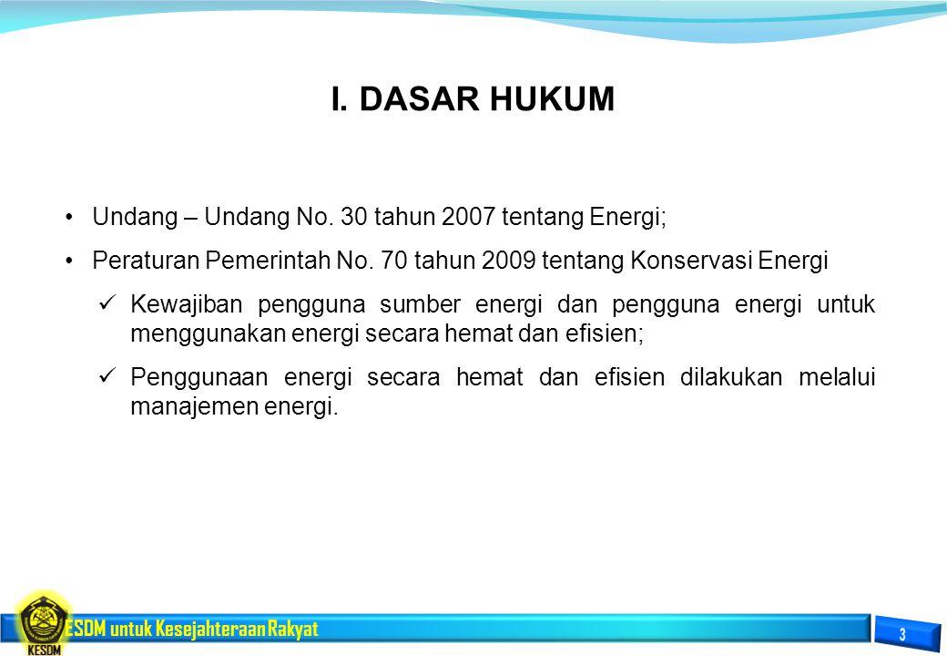 I. DASAR HUKUM Undang – Undang No. 30 tahun 2007 tentang Energi;