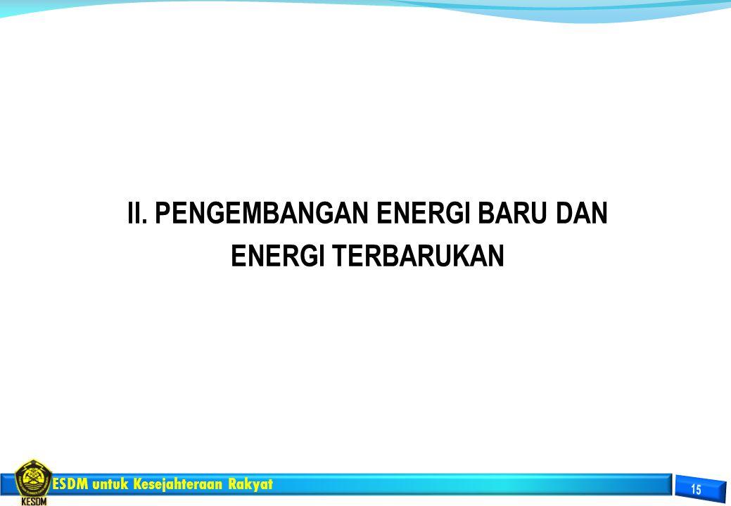II. PENGEMBANGAN ENERGI BARU DAN ENERGI TERBARUKAN