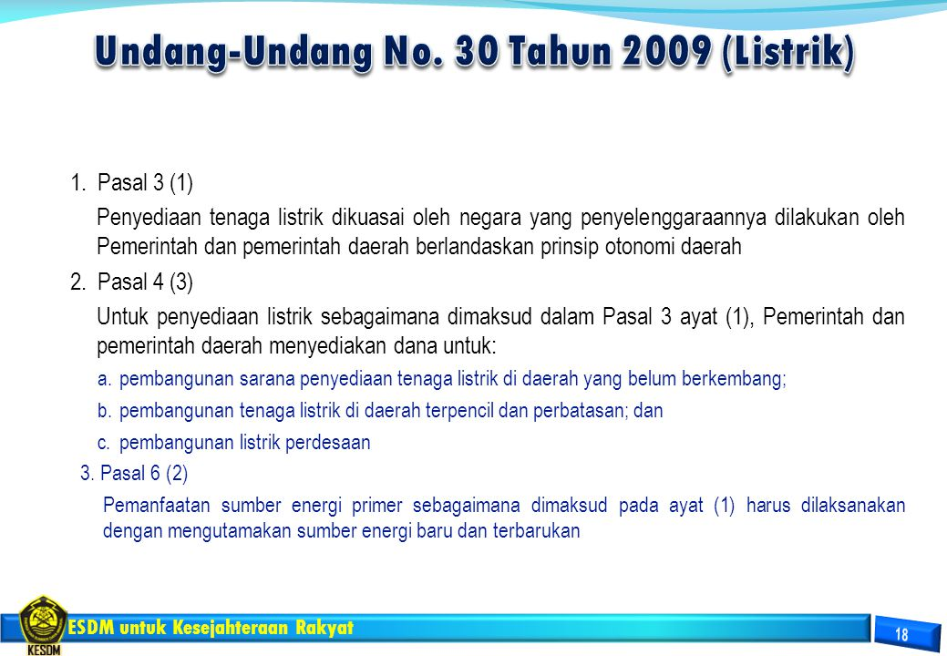 Undang-Undang No. 30 Tahun 2009 (Listrik)