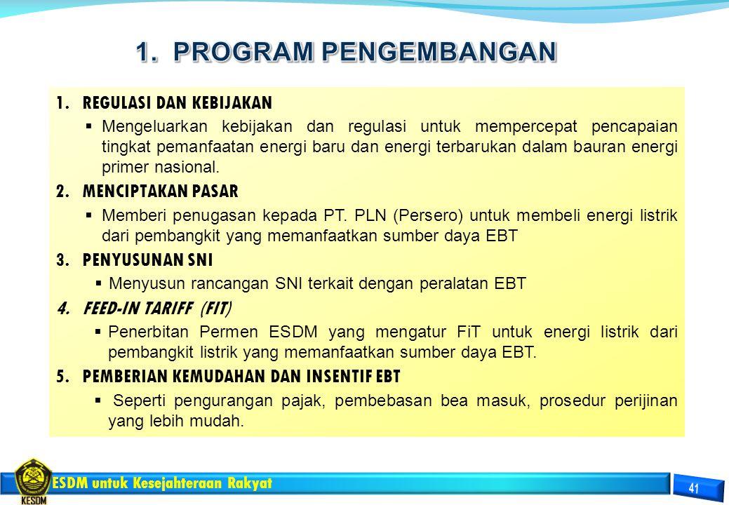 1. PROGRAM PENGEMBANGAN REGULASI DAN KEBIJAKAN MENCIPTAKAN PASAR