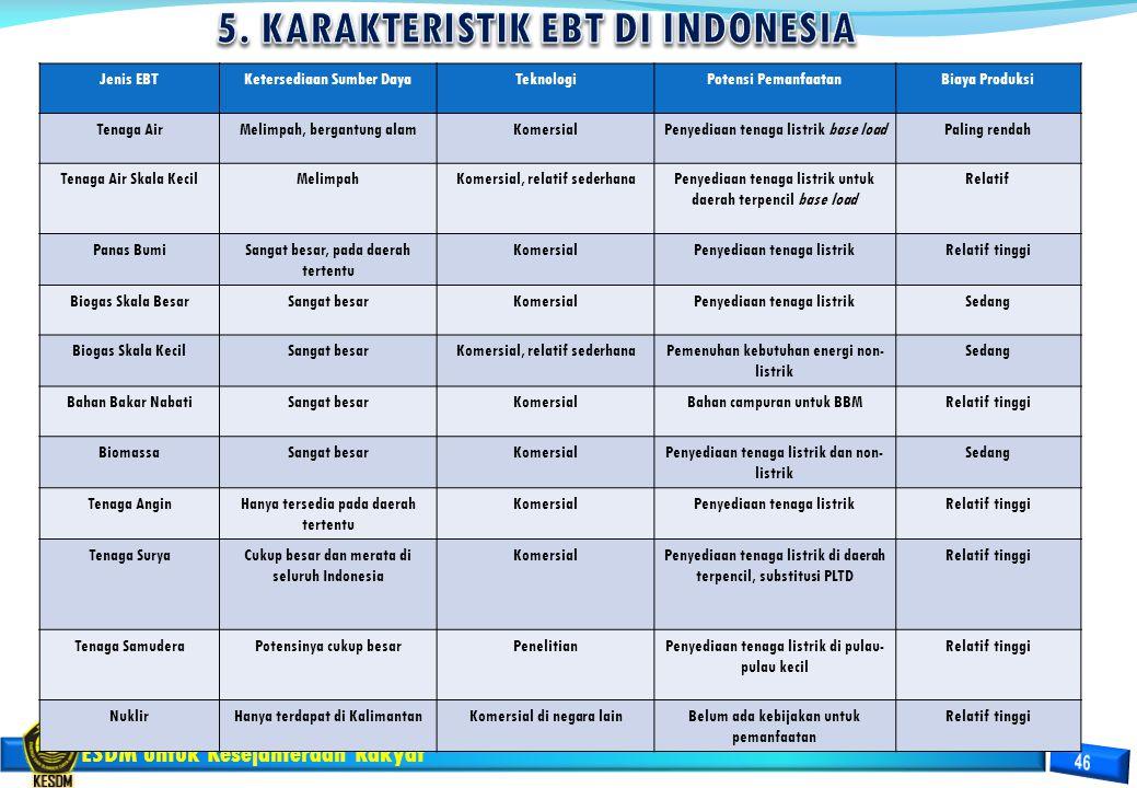 5. KARAKTERISTIK EBT DI INDONESIA