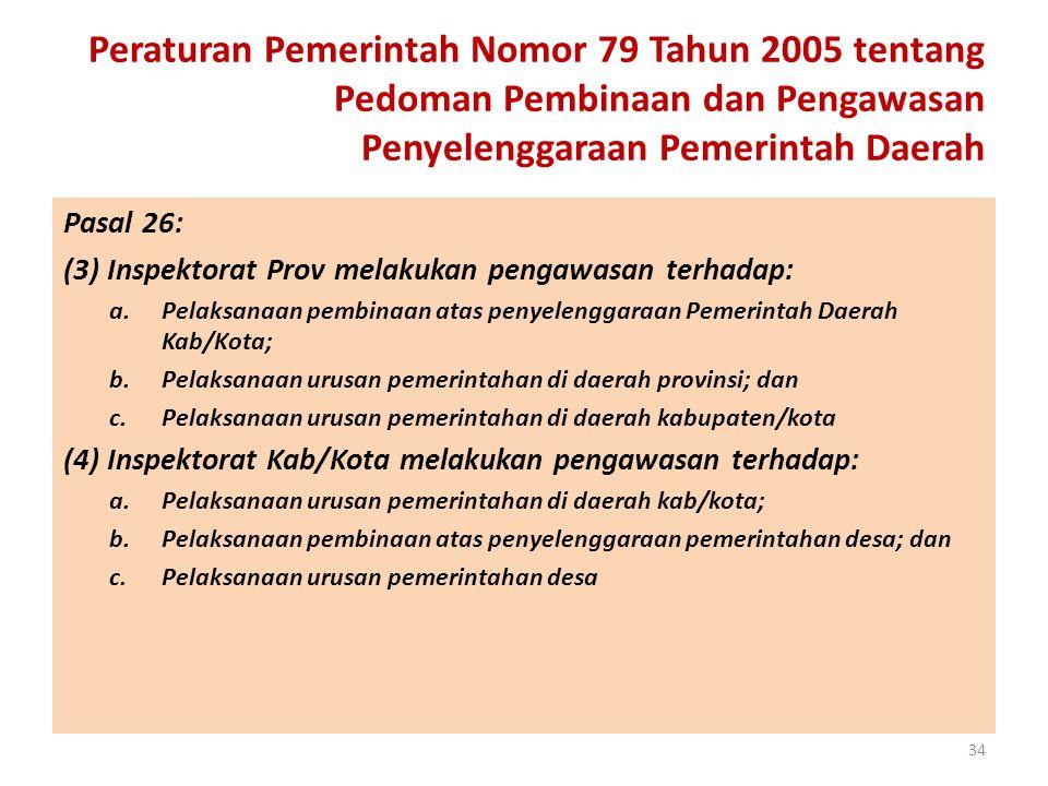 Peraturan Pemerintah Nomor 79 Tahun 2005 tentang Pedoman Pembinaan dan Pengawasan Penyelenggaraan Pemerintah Daerah