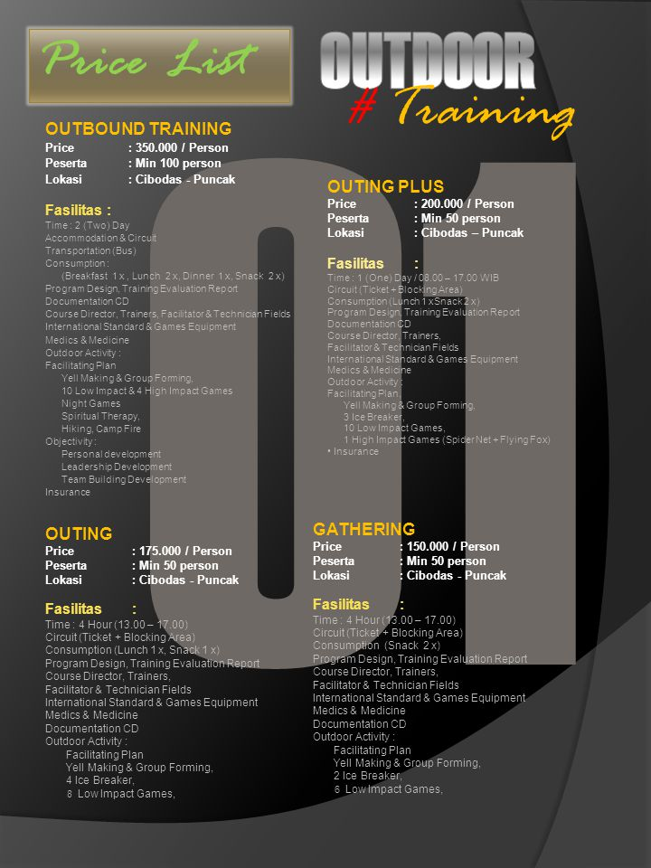 O1 OUTDOOR # Training Price List OUTBOUND TRAINING OUTING PLUS