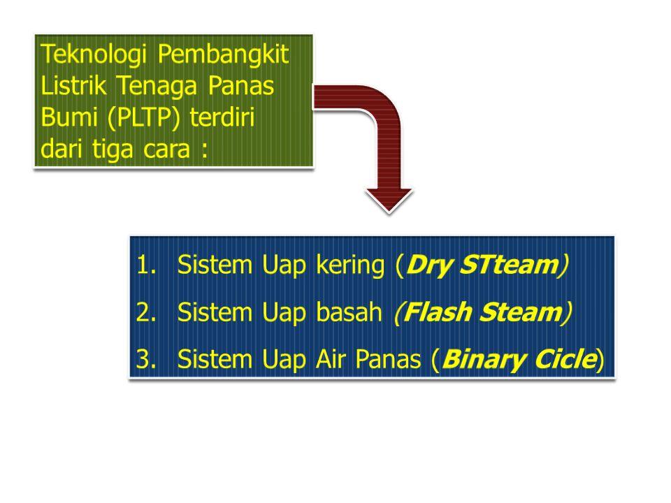 Teknologi Pembangkit Listrik Tenaga Panas Bumi (PLTP) terdiri dari tiga cara :
