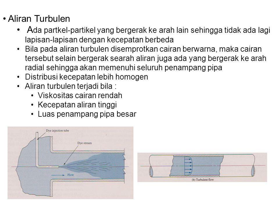 Aliran Turbulen Ada partkel-partikel yang bergerak ke arah lain sehingga tidak ada lagi lapisan-lapisan dengan kecepatan berbeda.